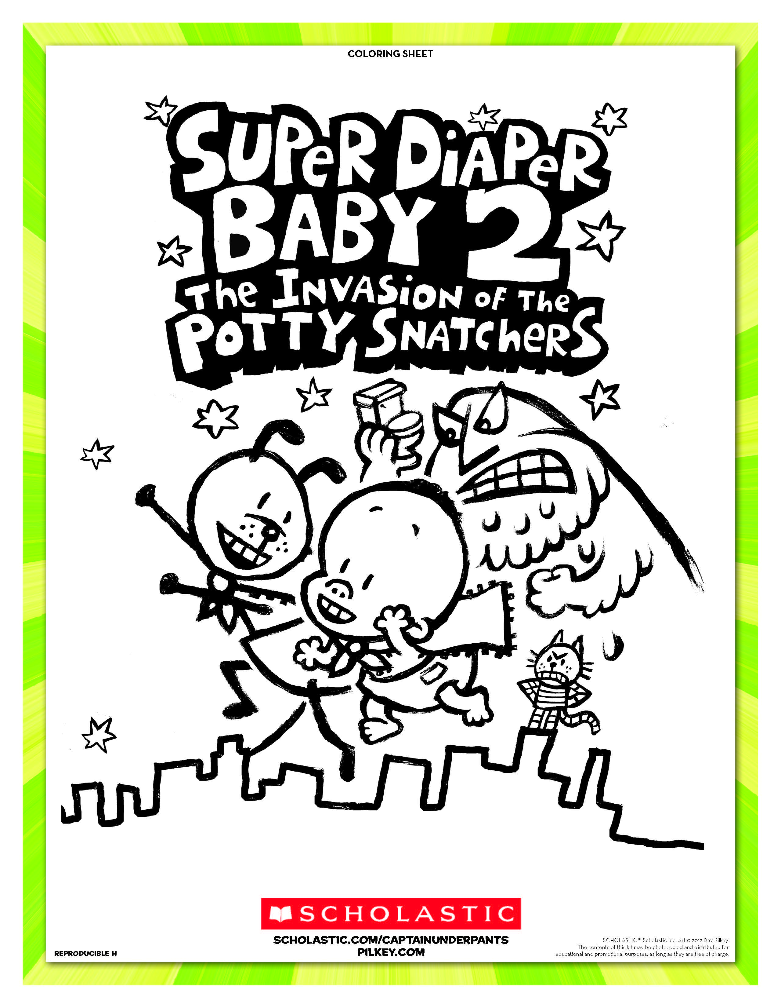 Super Diaper Baby 2: The Invasion of the Potty Snatchers coloring sheet