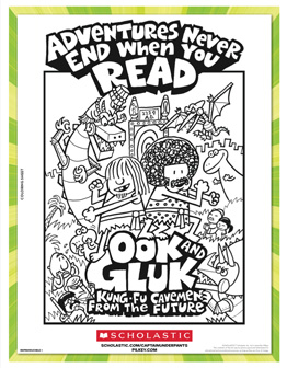 Ook & Gluk Adventures never end when you read coloring sheet