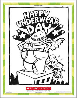 Captain Underpants Happy Underwear Day coloring sheet